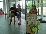 Die ehrenamtliche Stadträtin Ursula Schulze-Stampe (r.) begrüßte die Teilnehmenden in Vertretung für Kulturdezernentin Dr. Kerstin Weinbach gemeinsam mit (v. l.): Kulturamtsleiter Dr. Richard Laufner und der Leiterin der Sommerakademie Britta Sprengel.
