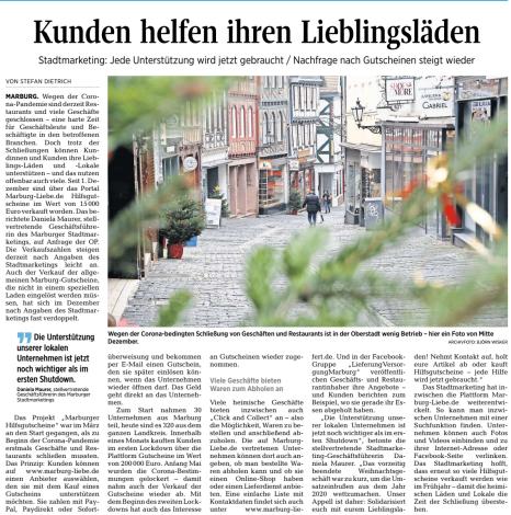 .©Oberhessische Presse, Ausgabe vom 11.01.2021