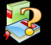 2 Bücher in bunt, darüber schwebt ein Fragezeichen - Clipart