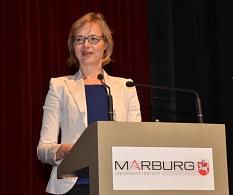 """""""Städtepartnerschaften sind die größte und beste Friedensbewegung der Welt"""", betonte Eisenachs Oberbürgermeisterin Katja Wolf.©Stadt Marburg, Birgit Heimrich"""
