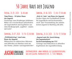 Eine Auflistung der Veranstaltungen  zu 50 Jahre Haus der Jugend.©Universitätsstadt Marburg