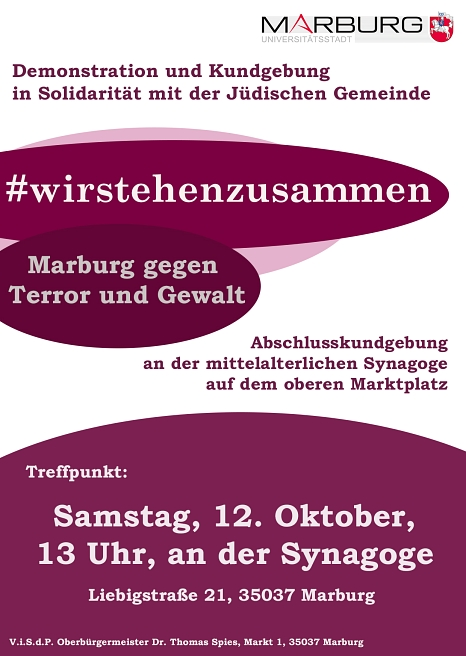 #wirstehenzusammen - Marburg gegen Terror und Gewalt©Patricia Grähling, Stadt Marburg
