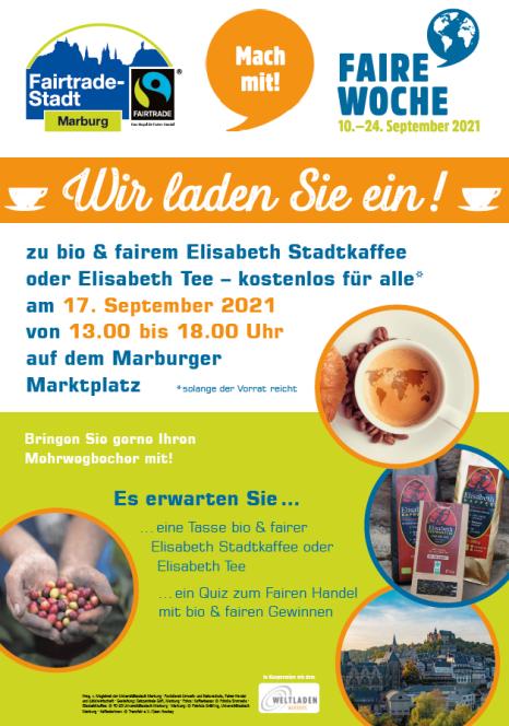 Aktion in der Fairen Woche 2021: Am 17.09.2021 lädt die Fairtrade-Stadt Marburg ein zur Fairen Kaffeepause.©Universitätsstadt Marburg