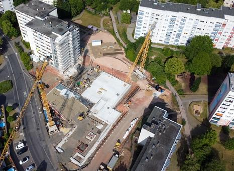 Die Bodenplatte des Altenhilfezentrums am Richtsberg ist fertig. Nun starten die Arbeiten am Rohbau.©Patricia Grähling, Stadt Marburg