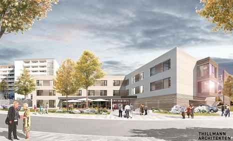 Der vorgesehene Ergänzungsneubau in der Sudetenstraße 24 soll ein modernes, zeitgemäßes Seniorenzentrum ermöglichen. Das Konzept setzt durchgängig auf Wohngruppen und zugleich auf Offenheit zum Quartier – dafür steht auch ein Begegnungscafé für alle im Ei©Thillmann, i. A. d. Stadt Marburg