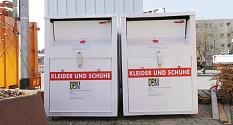 Das Foto zeigt Altkleidercontainer auf dem Servicehof Am Krekel.©DBM, Sonja Stender