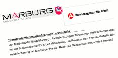 """Ein stilisierter Ausschnitt aus einem fingierten Antragsformular, """"Marburg Universitätsstadt"""" und Agentur für Arbeit ist zu lesen.©Universitätsstadt Marburg"""