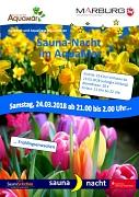 """Flyer zur Saunanacht am 24.03.2018 im AquaMar mit dem Motto """"Frühlingserwachen""""."""