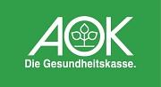 Das Logo der AOK Hessen. Die drei Buchstaben AOK in weiß auf grünem Grund und darunter der Schriftzug Die Gesundheitskasse