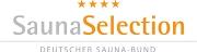 AquaMar Marburg - Logo Sauna Selection des Deutschen Saunabundes mit den 4 Sternen und dem Schriftzug SaunaSelection
