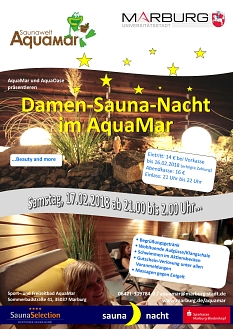 Plakat Damen-Saunanacht am 17.02.2018 mit den entsprechenden Informationen©Universitätsstadt Marburg