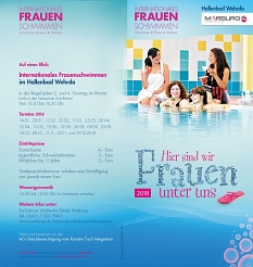Seite 1 des Flyers für das Internationale Frauenschwimmen im Hallenbad in Wehrda im Jahre 2018©Universitätsstadt Marburg