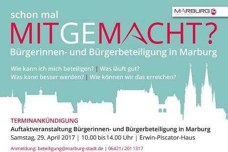 Die Auftaktveranstaltung Bürgerinnen- und Bürgerbeteiligung in Marburg findet am 29. April von 10-14 Uhr im Erwin-Piscator-Haus statt.©Universitätsstadt Marburg
