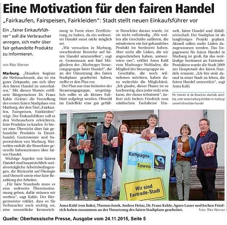 Ausschnitt aus der Oberhessischen Presse vom 24.11.2015 zu dem Fairen Stadtplan©Oberhessische Presse - Auszug vom 24.22.2015