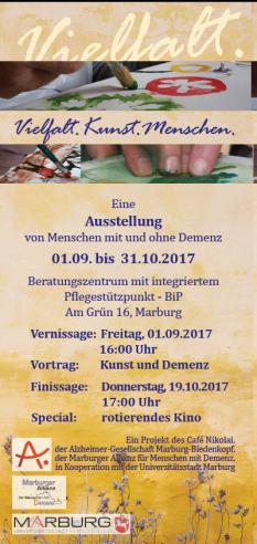 Ausstellungsflyer Vielfalt Kunst Menschen©Universitätsstadt Marburg