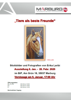"""Ausstellungsplakat """"Tiere als beste Freunde""""©Universitätsstadt Marburg"""