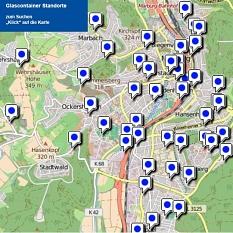 Auswahlkarte Altglascontainerstandorte Marburg©Universitätsstadt Marburg Fachdienst Umwelt, Fairer Handel, Abfallwirtschaft