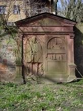 Barfüßer Tor Friedhof, Grabmal an der Mauer©Universitätsstadt Marburg, Fachdienst Klimaschutz, Stadtgrün und Friedhöfe