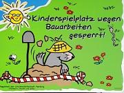 Buntes Hinweisschild Baustelle Kinderspielplatz