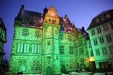 Beleuchtetes Rathaus©Universitätsstadt Marburg