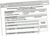 Ein Screenshot des Bewerbungsformulars.