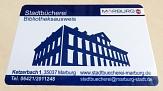 Bibliotheksausweis mit der Außenansicht der Stadtbücherei.©Universitätsstadt Marburg
