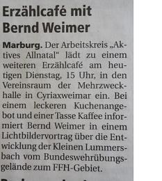 Bild der Anzeige Erzählcafe mit Bernd Weimer in Cyriaxweimar©Bernd Weimer