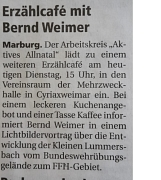 Bild der Anzeige Erzählcafe mit Bernd Weimer in Cyriaxweimar