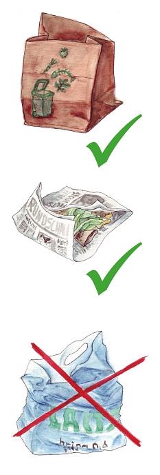 Bioabfallsammlung - gute machbar in Papierbeutel oder in Zeitungspapier eingewickelt - bitte niemals in Kunststofftüten - auch nicht in den sogenannten kompostierbaren Kunststofftüten.©Universitätsstadt Marburg FD Umwelt