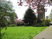 Bismarckanlage Hansenhaus, Ansicht mit Turm im Frühling