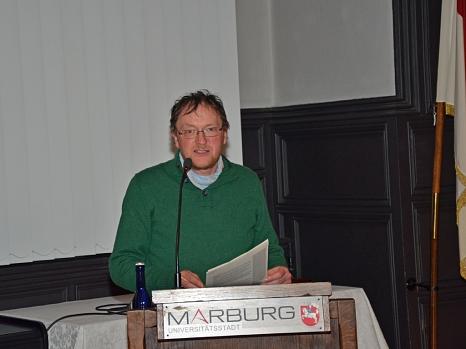 Historiker Dr. Klaus-Peter Friedrich von der Geschichtswerkstatt schuf mit seiner Analyse einen fundierten und zugleich kompakten Überblick über die Blista in der NS-Zeit.©Stadt Marburg, Philipp Höhn