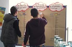 2 Jungen stehen an einer Stellwand, auf der Fragen zum Boys' Day zu beantworten sind. Auf Skalen sollen Punkte zur Zufriedenheit verschiedener Aspekte geklebt werden.©Universitätsstadt Marburg