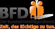 Das Logo zum Bundesfreiwilligendienst, in Gr0ßbuchstaben BFD, daneben zwei stilisierte Figuren, darunter der Text Der Bundesfreiwilligendienst, Zeit das Richtige zu tun.