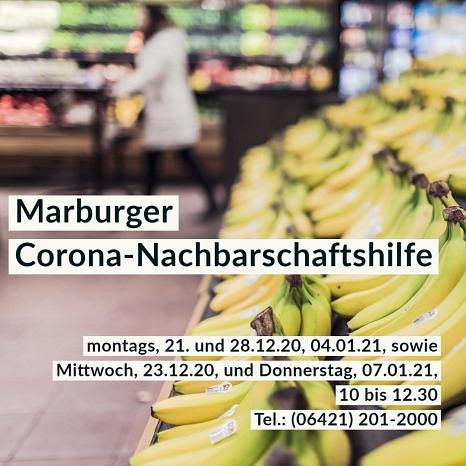 Erreichbarkeit der Corona-Hilfe im Dezember und Januar.©Universitätsstadt Marburg