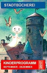 Cover des Veranstaltungsprogramm für Kinder mit dem kleinen Gespenst, das über der dunklen Burg schwebt.©Universitätsstadt Marburg