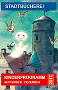Cover des Veranstaltungsprogramm für Kinder mit dem kleinen Gespenst, das über der dunklen Burg schwebt.