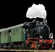 Schwarze Dampflokomotive, die weißen Rauch ausstößt, mit grünen Wagons und Touristen.