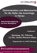 Die Stadt Marburg steht zusammen – gegen Hass und Hetze, gegen Ausgrenzung, gegen Terror und Gewalt!
