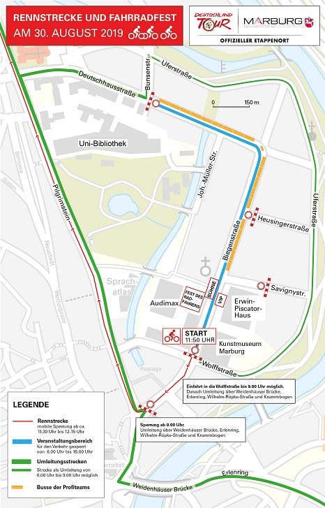 Diese Karte mit ausführlichen Informationen hat die Stadt auch schon an die direkten Anlieger*innen und Anwohner*innen der gesperrten Straßen verteilt.©Stadt Marburg