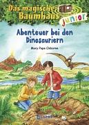 """Cover des Buches """"Abenteuer bei den Dinosauriern"""" aus der Reihe """"Das magische Baumhaus""""."""
