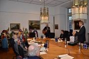 """Oberbürgermeister Dr. Thomas Spies empfing die """"Heiligen Drei Könige"""" aus der Marburger Kugelkirche und aus Schröck kurz vor der ersten Magistratssitzung im neuen Jahr."""