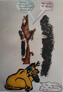 Druck von Holzrinde und gemalt, Magdalena Fritz