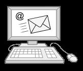 Bild  von einem Computer mit at-Zeichen auf dem Bildschirm als Symbol für E-Mail©Lebenshilfe für Menschen mit geistiger Behinderung Bremen e.V., Illustrator Stefan Albers, Atelier Fleetinsel, 2013