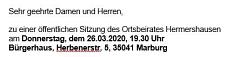 Einladung OBS Hermershausen 26.03.2020©Hubert Detriche