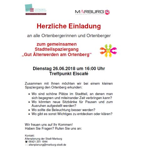 Einladung zum Stadtteilspaziergang am Ortenberg©Universitätsstadt Marburg