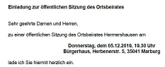 Einladung zur OBS am 05.12.2019©Hubert Detriche