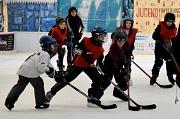 Nach kurzer Zeit haben die jungen Eishockeyspielerinnen und -spieler den Bogen raus und legen sich mächtig ins Zeug, um den Puck ins gegnerische Tor zu befördern.