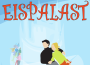 Der Schriftzug des Eispalast und das Eislaufpaar des Flyers