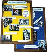 Zwei Tafeln mit Fotos von Orten aus der Bibliothek und Suchaufgaben.©Universitätsstadt Marburg
