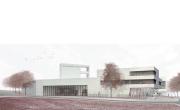 """Entwurf des Erstplatzierten, Büro """"Pussert Kosch Architekten"""" aus Dresden, für den Neubau eines Feuerwehrzentrums in Marburg-Cappel"""